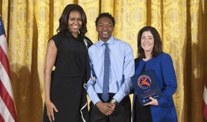 First Lady Michelle Obama with 2015 National Arts and Humanities Youth Program Award Winners Milwaukee Youth Symphony Orchestra Community Partnership Programs. Photo: Steven Purcell.